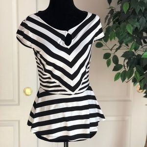 Inc black/white striped short sleeve top xs